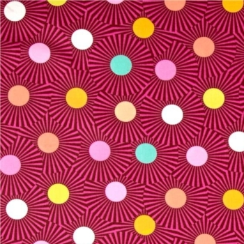 REMNANT Tula Pink Slow & Steady Clear Skies Orange Crush Geometric Spots Sunburst Cotton Fabric