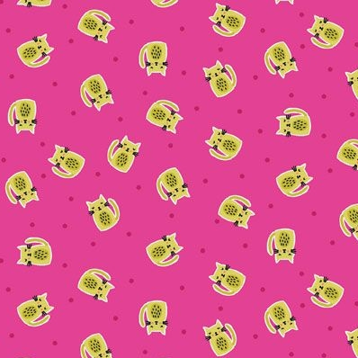 Kitty Scatter Cat Pink Cats Makower Cotton Fabric