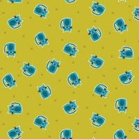 Kitty Scatter Cat Green Yellow Mini Cats Makower Cotton Fabric
