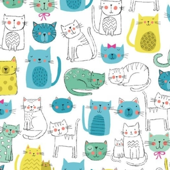 Kitty Cats Turquoise Blue Cat Faces Makower Cotton Fabric