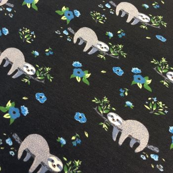Sloth Floral Sleepy Sloths Flowers Midnight Blue Stretch Cotton Jersey Knit Fabric