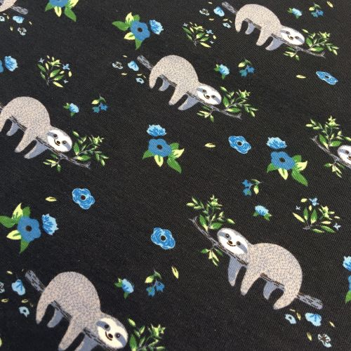 Sloth Floral Sleepy Sloths Flowers Midnight Blue Stretch Cotton Jersey Knit