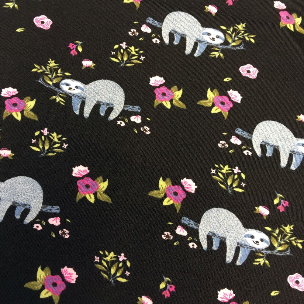 Sloth Floral Sleepy Sloths Flowers Black and Purple Stretch Cotton Jersey K
