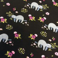 Sloth Floral Sleepy Sloths Flowers Black and Purple Stretch Cotton Jersey Knit Fabric