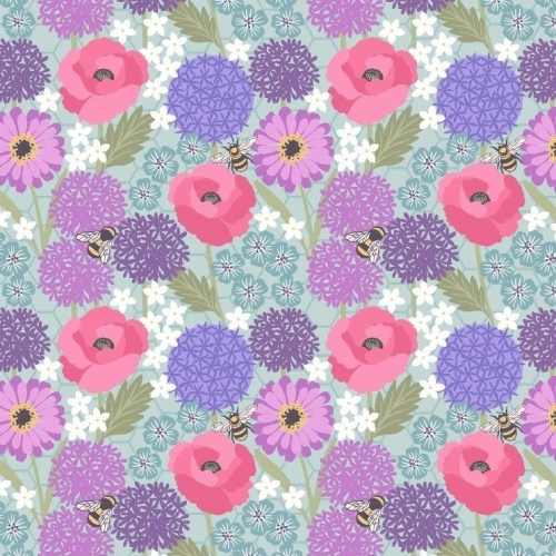Bee Kind Allium and Poppies on Blue Honey Bees Cotton Fabric