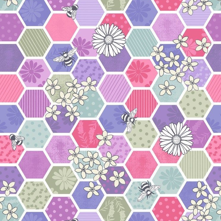 Bee Kind Hexagons in Pinks Geometric Honeycomb Floral Honey Bees Cotton Fab