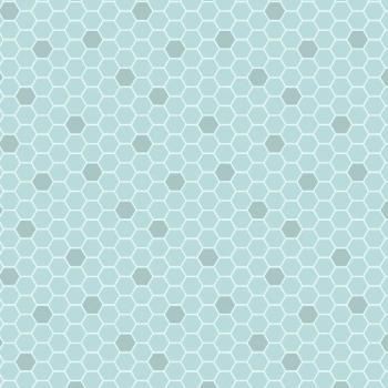 Bee Kind Blue Honeycomb Geometric Hexagons Blender Cotton Fabric