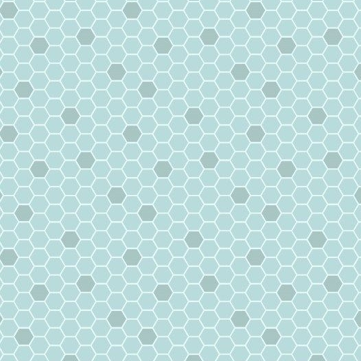 Bee Kind Blue Honeycomb Geometric Hexagons Blender Cotton Fabric