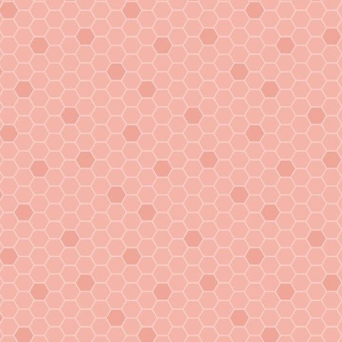 Bee Kind Peach Honeycomb Geometric Hexagons Blender Cotton Fabric
