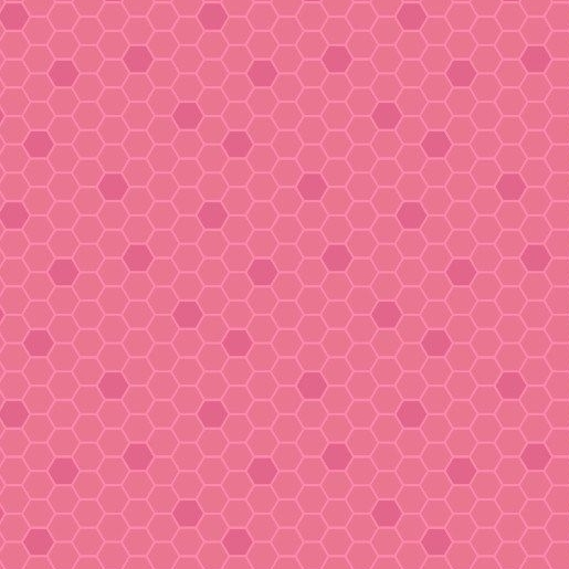 Bee Kind Pinky Red Honeycomb Geometric Hexagons Blender Cotton Fabric