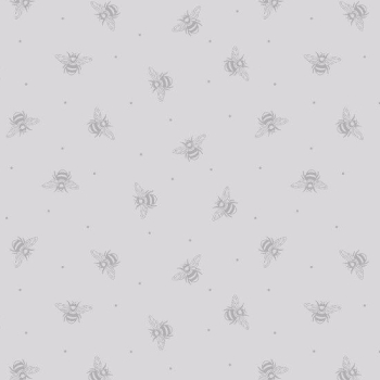 REMNANT Bee Kind Honey Bees on Grey Cotton Fabric