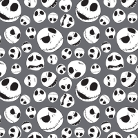 Disney Nightmare Before Christmas Packed Jack Skellington Faces on Iron Grey Cotton Fabric