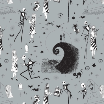 Disney Nightmare Before Christmas Jack Skellington and Sally on Stone Grey Cotton Fabric