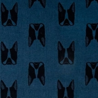 Sarah Golden Maker Maker Captain Dogs Blue Boston Terrier Dog Faces on Tailored Cloth Cotton Linen Canvas Fabric