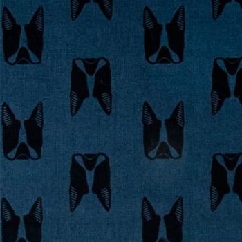 Sarah Golden Maker Maker Captain Dogs Blue Boston Terrier Dog Faces on Tailored Cloth Cotton Linen Canvas Fabric