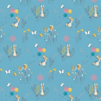 Peter Rabbit Beatrix Potter Classics Nursery Blue Dandelion Cotton Fabric