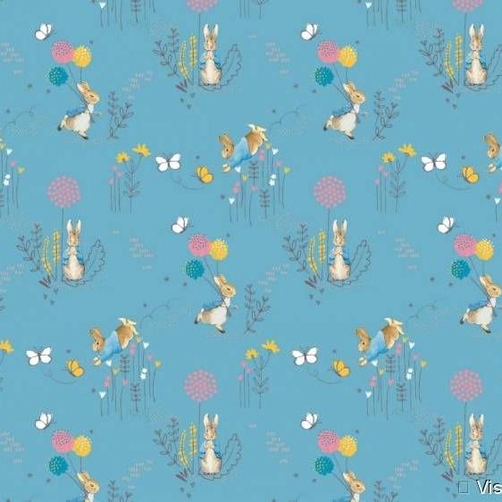 Peter Rabbit Beatrix Potter Classics Nursery Blue Dandelion Cotton Fabric