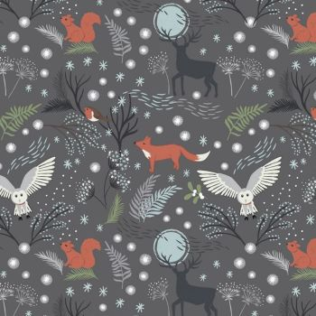 REMNANT Winter Animals Stag Owl Squirrel Robin Fox in the Forest Woodland on Grey Christmas Cotton Fabric