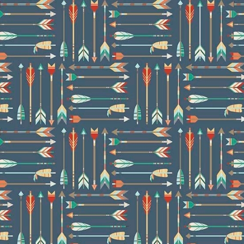 REMNANT High Adventure Arrows on Navy Blue Arrow Feather Cotton Fabric