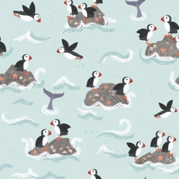 Spindrift Puffin Rocks Pale Blue Puffins Coastal Birds Whales Sea Ocean Cotton Fabric