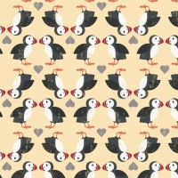 Spindrift Puffin Pairs on Yellow Love Heart Puffins Coastal Birds Hearts Cotton Fabric