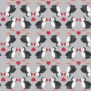 Spindrift Puffin Pairs on Grey Love Heart Puffins Coastal Birds Hearts Cotton Fabric