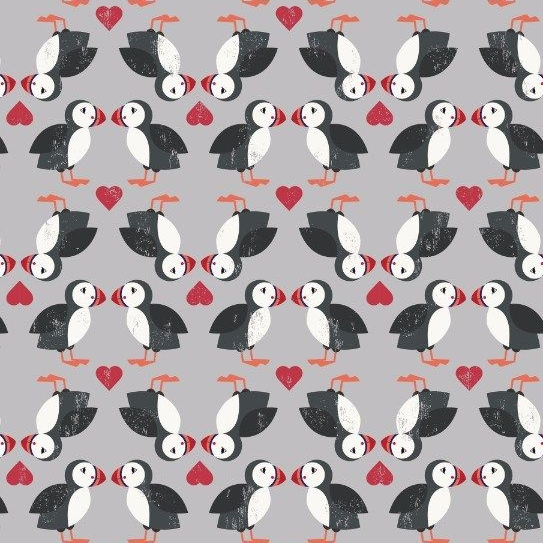Spindrift Puffin Pairs on Grey Love Heart Puffins Coastal Birds Hearts Cott