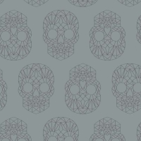 Wildside The Watcher Skull Silver Metallic Skulls Geometric Grey Pearlescent Cotton Fabric