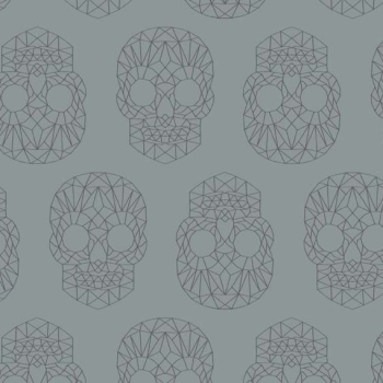 Wildside The Watcher Skull Silver Metallic Skulls Geometric Grey Pearlescent Cotton Fabric