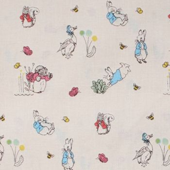 Beatrix Potter Classics Characters Peter Rabbit Nursery Cream Cotton Fabric