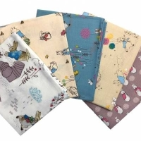 Beatrix Potter Nursery Peter Rabbit Charcater 5 Cotton Fabrics Fat Quarter Bundle Cloth Stack FQ