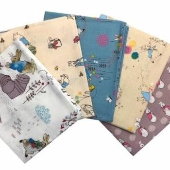Beatrix Potter Nursery Peter Rabbit Charcater 5 Cotton Fabrics Fat Quarter Bundle Cloth Stack FQ