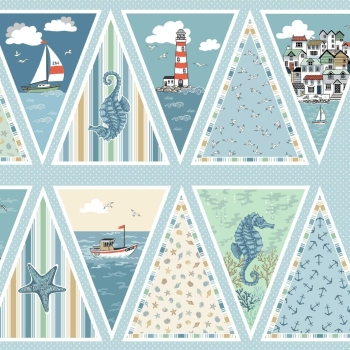Beachcomber Sailing Seaside Beach Hut Boat Shell Anchor Lighthouse Nautical DIY Bunting Panel Cotton Fabric