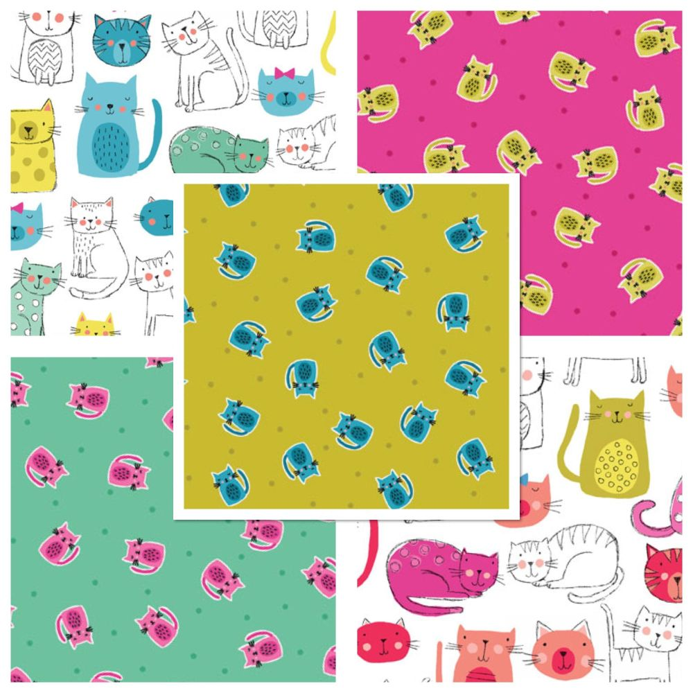 Makower Cat Kitty Cats 5 Cotton Fabrics Fat Quarter Bundle Cloth Stack FQ