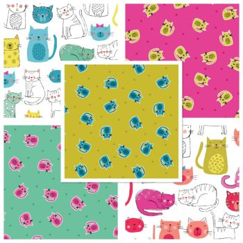 Makower Cat Kitty Cats 5 Cotton Fabrics Fat Quarter Bundle Cloth Stack FQ