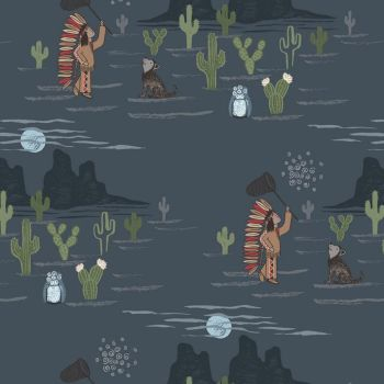 REMNANT To Catch a Dream Moonlit Nighttime Dream Catching Cactus Dog Native American Navajo Cotton Fabric