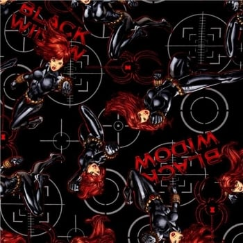 REMNANT Marvel Black Widow Superhero Avengers Power Black Cotton Fabric