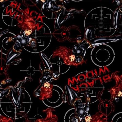 REMNANT Marvel Black Widow Superhero Avengers Power Black Cotton Fabric