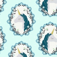 Do You Believe Unicorns Aqua Metallic Gold Unicorn Cotton Fabric by Michael Miller
