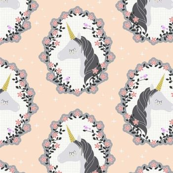 Do You Believe Unicorns Blossom Pink Metallic Gold Unicorn Cotton Fabric by Michael Miller