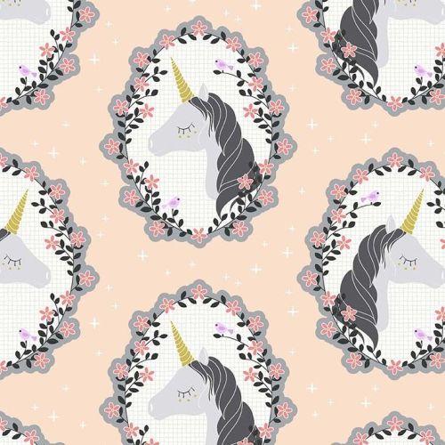 Do You Believe Unicorns Blossom Pink Metallic Gold Unicorn Cotton Fabric by