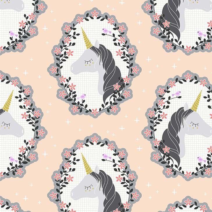 Do You Believe Unicorns Blossom Pink Metallic Gold Unicorn Cotton Fabric by