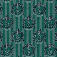 Harry Potter Hogwarts Slytherin House Crest Snake Magical Wizard Witch Digital Cotton Fabric