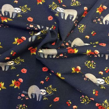 REMNANT Sloth Floral Sleepy Sloths Flowers Navy Blue and Red Stretch Cotton Jersey Knit Fabric