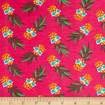 REMNANT Party Pineapples In Sunglasses Pineapple Pink Stretch Cotton Jersey Knit Fabric