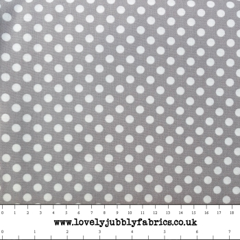 REMNANT Grey Spotty Dotty Polkadot Whimsical Wheels Cotton Fabric