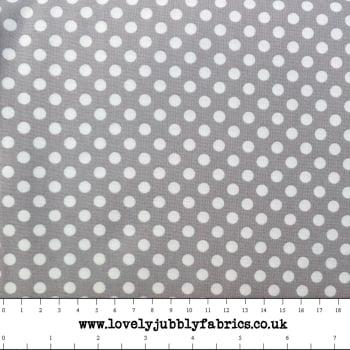 REMNANT Grey Spotty Dotty Polkadot Whimsical Wheels Cotton Fabric