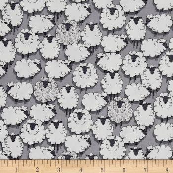 REMNANT Sheep Sheepish Grey Eyes on Ewe Gray Farm Animal Cotton Fabric