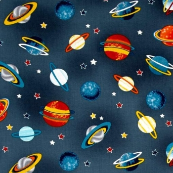 REMNANT Space Adventure Planets Gray Solar System Stars Grey Cotton Fabric