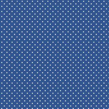 REMNANT Spot On Marine Blue White Polkadot on Royal Blue Spotty Dotty Cotton Fabric